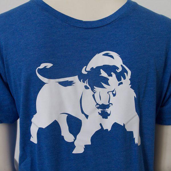 Shirt mit Bueffel Aufdruck in Blau - Vorderseite   Tennis-University