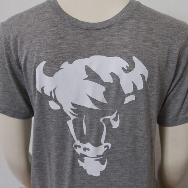 Shirt mit Bueffelkopf Aufdruck in Grau - Vorderseite | Tennis-University