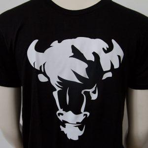 Shirt mit Bueffelkopf Aufdruck in Schwarz - Vorderseite | Tennis-University