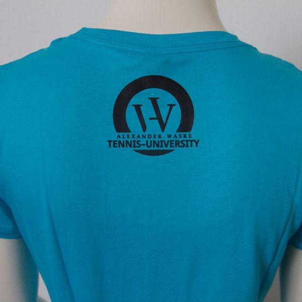 Logo-Damenshirt in Blau - Rueckseite   Tennis-University