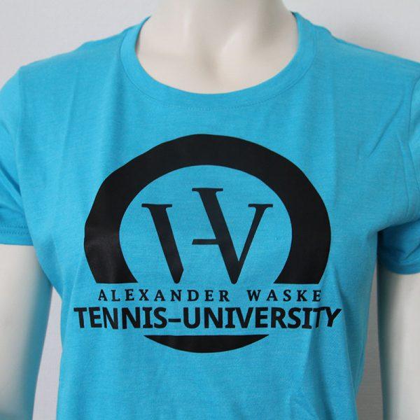 Logo-Damenshirt in Blau - Vorderseite   Tennis-University