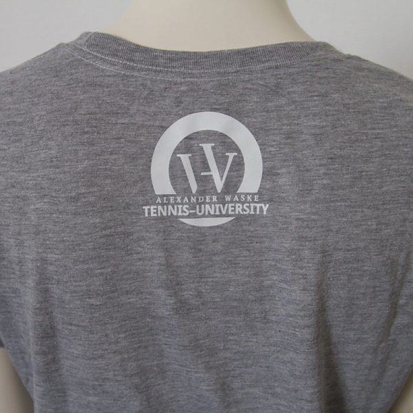 Logo-Damenshirt in Grau - Rueckseite | Tennis-University