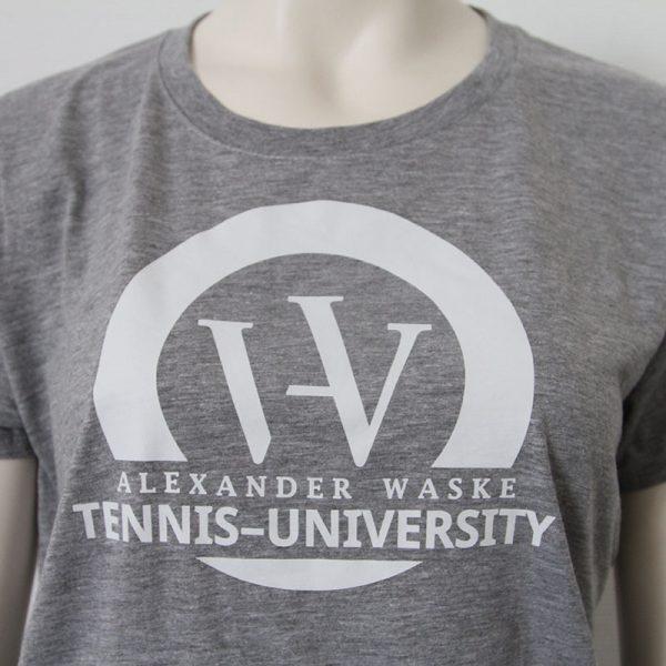 Logo-Damenshirt in Grau - Vorderseite | Tennis-University