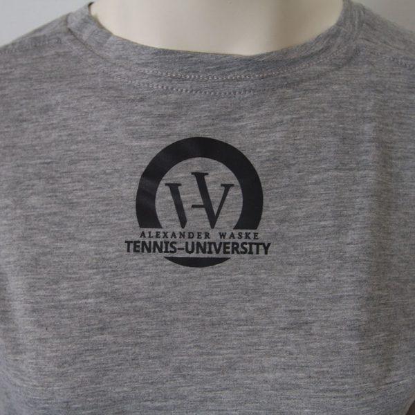 Logo-Shirt in Grau - Rueckseite   Tennis-University